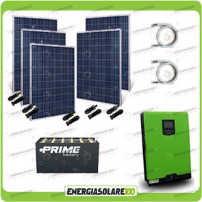 Kit solare fotovoltaico 1.2KW Inverter onda pura Edison30 3000VA 2400W PWM 50A Batterie OPzs