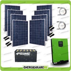 Kit solare fotovoltaico 2KW Inverter onda pura Edison50 5000VA 4000W 48V PWM 50A Batterie OPzS