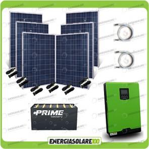 Kit solare fotovoltaico 1.5KW Inverter onda pura Edison30 3000VA 2400W PWM 50A Batterie OPzS