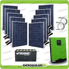 Kit solare fotovoltaico 2.5KW Inverter onda pura Edison50 5000VA 4000W 48V PWM 50A Batterie OPzS