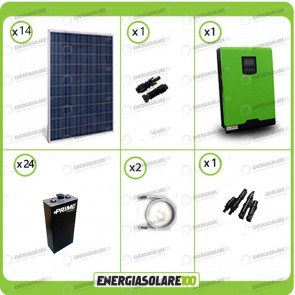 Kit solare fotovoltaico 3.7KW Inverter onda pura Genius 5kW 48V regolatore di carica MPPT 80A Batterie OPzS