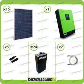 Kit solare fotovoltaico 3.7KW Inverter onda pura Genius 5000VA 4000W 48V 2 regolatori MPPT 60A Batterie OPzS