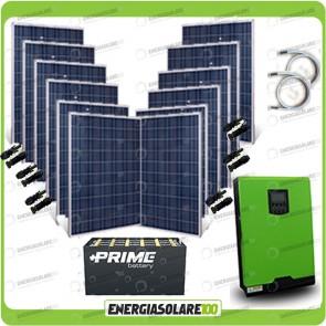 Kit solare fotovoltaico 3KW Inverter onda pura Edison50 5000VA 4000W 48V PWM 50A Batterie OPzS