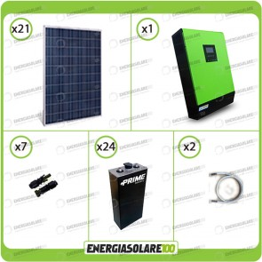 Kit solare fotovoltaico 5.2KW Inverter onda pura Genius 5000VA 4000W 48V 2 regolatori MPPT 60A Batterie OPzS