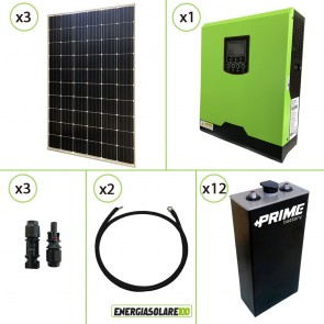 Impianto solare fotovoltaico 900W 24V pannello monocristallino inverter onda pura Edison30 3KW PWM 50A batteria opzs