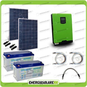Kit solare fotovoltaico 500W Inverter onda pura Edison30 3000VA 2400W PWM 50A Batterie GEL