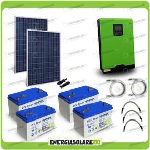 Kit solare fotovoltaico 500W Inverter onda pura Edison50 5000VA 4000W 48V PWM 50A Batterie GEL
