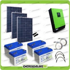 Kit solare fotovoltaico 750W Inverter onda pura Genius 5000VA 4000W 48V MPPT 80A Batterie GEL