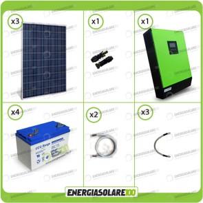 Kit solare fotovoltaico 750W Inverter onda pura Genius 5000VA 4000W 48V 2 regolatori MPPT 60A Batterie GEL