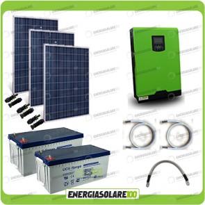 Kit solare fotovoltaico 750W Inverter onda pura Edison30 3000VA 2400W PWM 50A Batterie GEL
