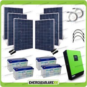 Kit solare fotovoltaico 1.5KW Inverter onda pura Genius 5000VA 4000W 48V MPPT 80A Batterie GEL