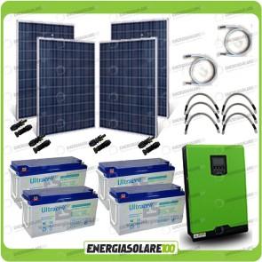 Kit solare fotovoltaico 1KW Inverter onda pura Edison30 3000VA 2400W PWM 50A Batterie GEL