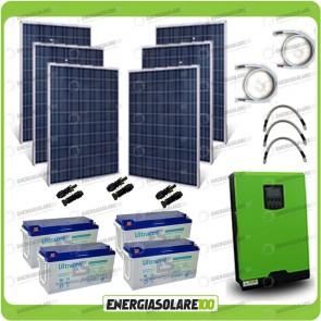 Kit solare fotovoltaico 1.5KW Inverter onda pura Edison50 5000VA 4000W 48V PWM 50A Batterie GEL