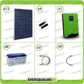 Kit solare fotovoltaico 3KW Inverter onda pura Genius 5000VA 4000W 48V MPPT 80A Batterie GEL