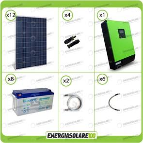 Kit solare fotovoltaico 3KW Inverter onda pura Genius 5000VA 4000W 48V 2 regolatori MPPT 60A Batterie GEL