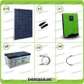 Kit solare fotovoltaico 2.5KW Inverter onda pura Edison50 5000VA 4000W 48V PWM 50A Batterie GEL