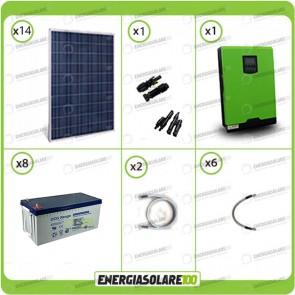 Kit solare fotovoltaico 3.7KW Inverter onda pura Genius 5000VA 4000W 48V MPPT 80A Batterie GEL