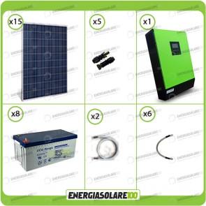 Kit solare fotovoltaico 3.7KW Inverter onda pura Genius 5000VA 4000W 48V 2 regolatori MPPT 60A Batterie GEL