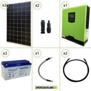 Impianto solare fotovoltaico 600W 24V pannello monocristallino inverter onda pura Edison30 3KW PWM 50A batteria AGM