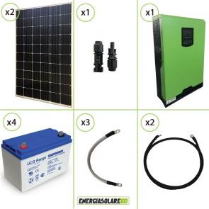 Impianto solare fotovoltaico 600W 48V pannello monocristallino inverter onda pura Edison50 5KW PWM 50A batteria GEL