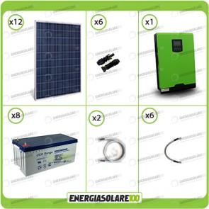 Kit solare fotovoltaico 3KW Inverter onda pura Edison50 5000VA 4000W 48V PWM 50A Batterie GEL
