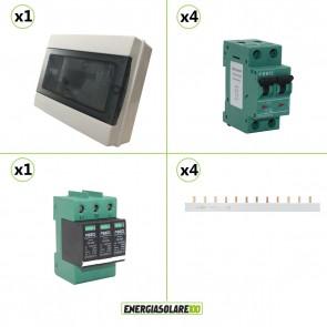 Kit quadro di campo a 4 stringhe per impianti fotovoltaici 500V 16A