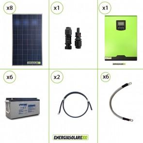 Impianto solare fotovoltaico 2.2KW 24V pannello policristallino Inverter ibrido Edison 24V 3KW MPPT 80A batteria AGM 150Ah