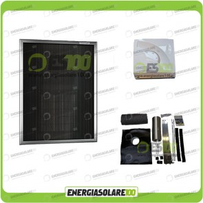 Kit Stufa Solare ad Aria Calda Area Max 50mq + Interruttore On/Off + Kit staffe Tetto Piano Inclinato + termostato di controllo
