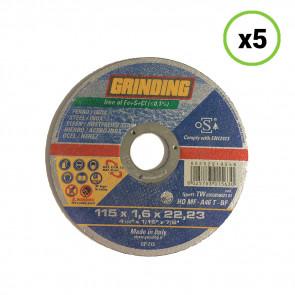 Set 5pz Dischi Abrasivi da Taglio per Ferro/Inox 115mm