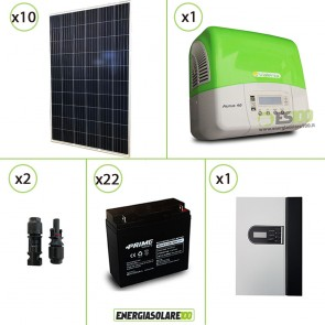Kit solare fotovoltaico 2.7KW Pannelli extra-europei con Inverter 3KW, limitatore converter DC e Batteria AGM
