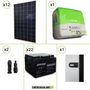 Kit solare fotovoltaico 3.2KW con Inverter 3KW, limitatore converter DC e Batteria AGM