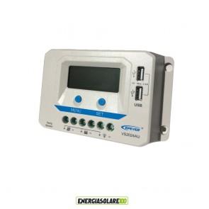 Regolatore di carica PWM 20A 12V 24V prese USB 5V fotovoltaico VS2024AU