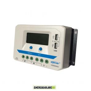 Regolatore di carica PWM 30A 12V 24V prese USB 5V fotovoltaico VS3024AU