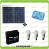 Kit Solare Fotovoltaico Campeggio Scout 50W 12V 12Ah Cellulare Luce LED 7W Stereo