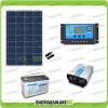 Kit baita pannello solare 100W 12V inverter onda pura 600W batteria AGM 100Ah