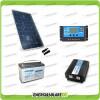 Kit baita pannello solare 200W 12V inverter onda pura 1000W batteria AGM 100Ah regolatore NVSolar