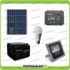 Kit fotovoltaico per l'illuminazione esterna e interna con faro da LED 10W e lampadina LED 7W pannello fotovoltaico 30W autonomia 5 ore