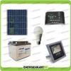Kit fotovoltaico per l'illuminazione esterna e interna con faro da LED 10W e lampadina LED 7W pannello fotovoltaico 50W autonomia 8 ore