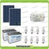 Kit solare illuminazione stalla, casa di campagna 160W 24V 8 lampade fluorescenti 15W 5 ore al giorno regolatore di carica LS