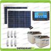 Kit solare illuminazione stalla, casa di campagna 100W 24V 6 lampade fluorescenti 11W 5 ore al giorno
