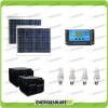 Kit solare fotovotlaico per illuminazione stalla, casa di campagna 60W 24V 4 lampade fluorescenti 11W 5 ore al giorno regolatore di carica NV