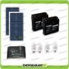 Kit solare illuminazione stalla, casa di campagna 40W 24V 4 lampade fluorescenti 7W 5 ore al giorno