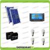 Kit solare illuminazione stalla, casa di campagna 40W 24V 4 lampade LED 7W 5 ore al giorno regolatore di carica NV