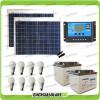 Kit solare illuminazione stalla, casa di campagna 100W 24V 8 lampade LED 7W 5 ore al giorno regolatore NV