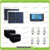 Kit solare illuminazione stalla, casa di campagna 60W 24V 6 lampade fluorescenti 7W 5 ore al giorno regolatore NV