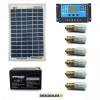 Kit Solare Votivo 20W 12V 6 lampada LED 0.3W sempre accesa 24h al giorno