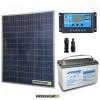 Kit Starter Plus Pannello Solare 200W 12V Batteria AGM 100Ah  Regolatore PWM 20A NV20