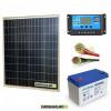 Kit PRO pannello solare 80W 12V policristallino regolatore di carica 10A batteria 100Ah GEL cavi