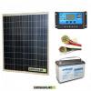 Kit PRO pannello solare 80W 12V policristallino regolatore di carica 10A batteria 100Ah AGM cavi