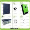 Kit solare fotovoltaico 2.5KW Inverter onda pura Genius 5000VA 5000W 48V 2 regolatori MPPT 60A Batterie GEL